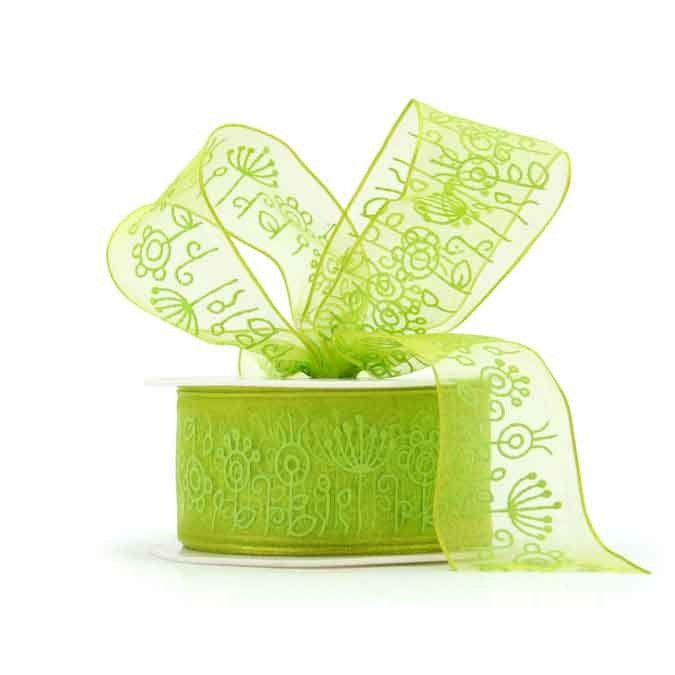 Foliage Pattern Organza - Whether you use plain fabric ribbon, decorative fabric ribbon, poly ribbon or pullbows, ribbon adds a great finishing touch to every gift. Your flowers, chocolates, bottle of wine or specially wrapped present will go down a treat with a beautiful bow to embellish it. We also do branded or logo printed ribbon in large runs, email us with your requirements and we'll see what we can do. Gift wrapping, Birthday, Christmas, Baby shower, Decorations,Wedding.