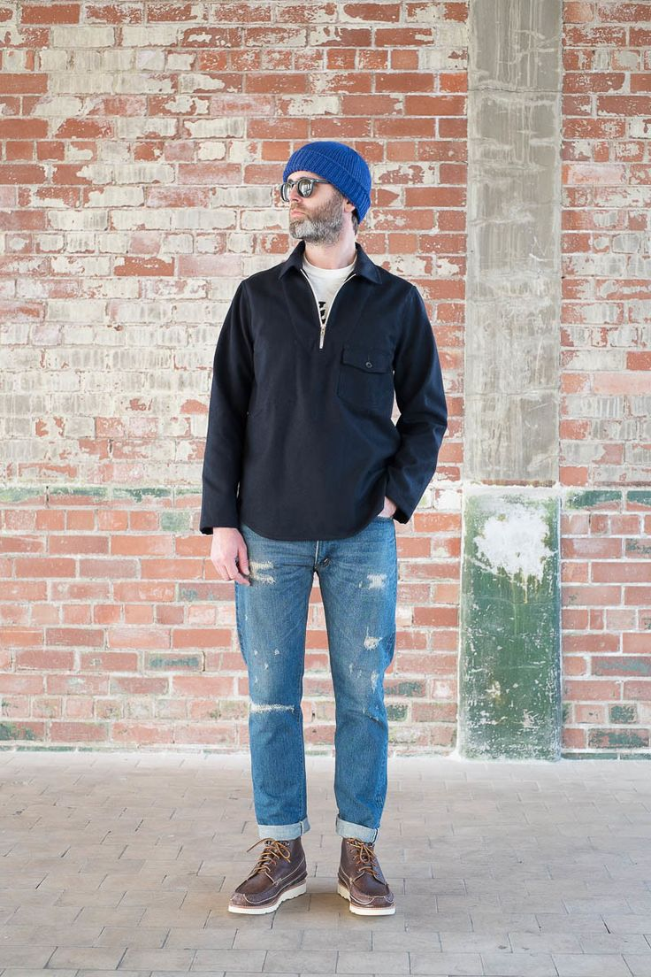 Navy wool cotton serge goemon jumper by arpenteur the for Bureau belfast