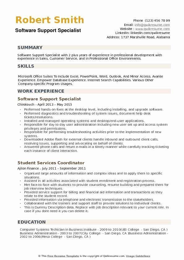 Customer Support Specialist Resume Unique Software Support Specialist Resume Samples