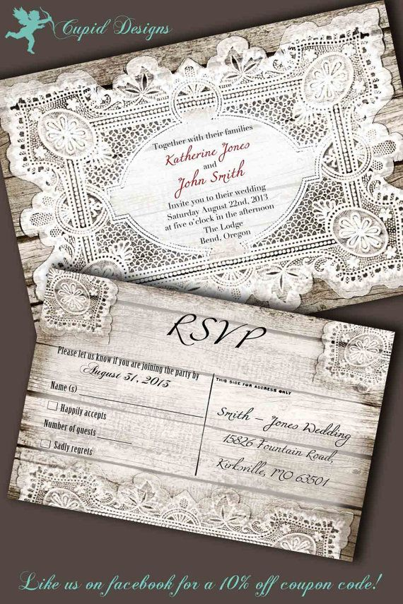 Rustic Vintage Wood Western French Country Lace Elegant Wedding Invitation ~ Explore more DIY wedding ideas, how to choose a wedding dress and the best honeymoon destinations on www.mrspurplerose.com #WeddingDecorations #WeddingThemes #WeddingIdeas