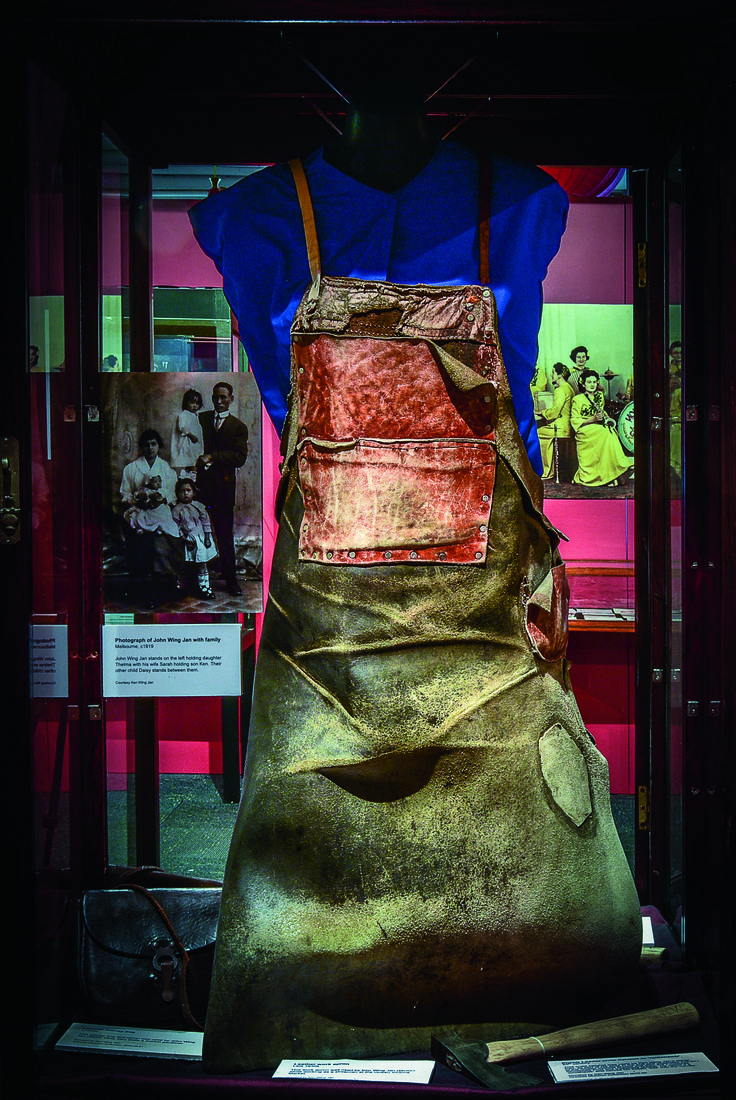 Melbourne's Chinese Museum RoyalAuto February, 2016. Leather work apron. Photo: Anne Morley. #Chinatown #ChineseNewYear #MelbourneChineseMuseum #Leather #Apron