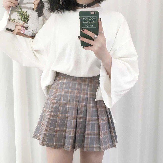 Sweet students grid pleated skirt SE8754