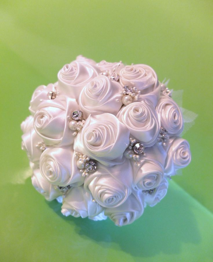 Handmade Ribbon Rose Bouquet- White rose accented with rhinestone (Large, 9 inch) by LoveMimosaFleur on Etsy