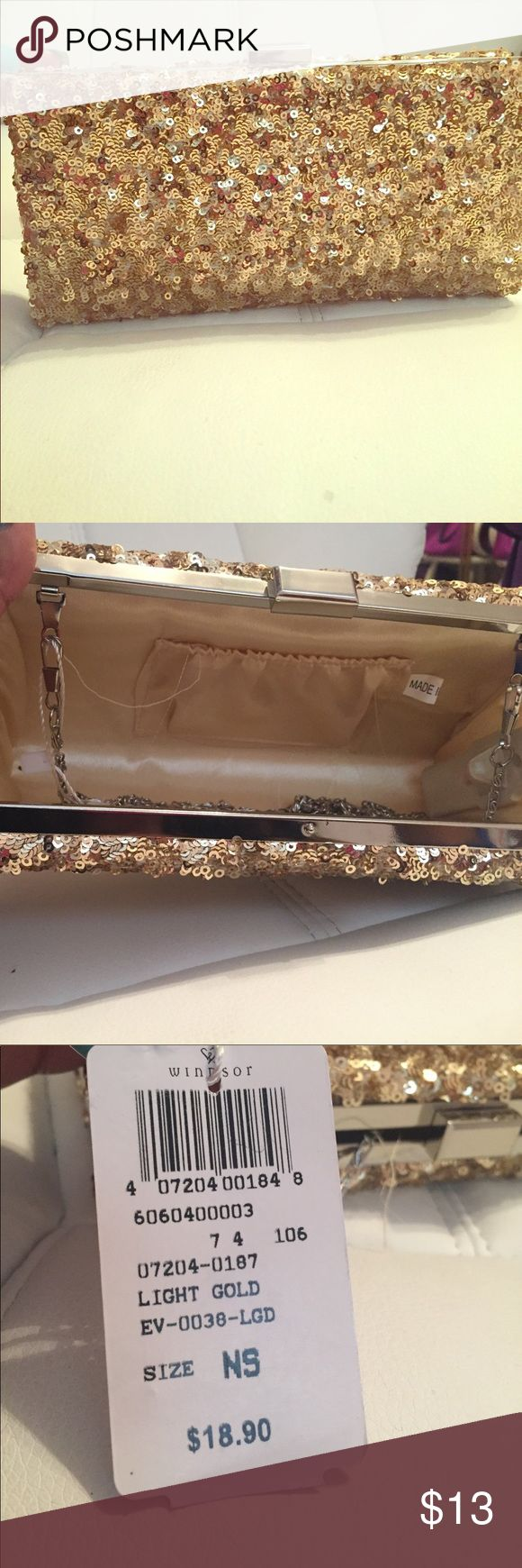 Gold sparkly clutch Never used. Tags on. From Windsor. Holds a lot but stylish. Windsor Bags Clutches & Wristlets