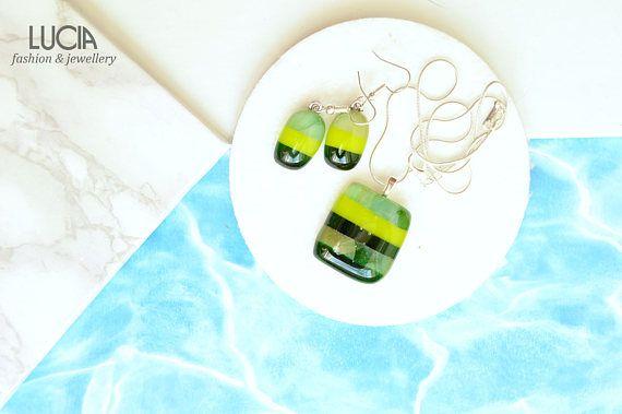 Striped glass jewelry Green glass jewelry set Fused glass