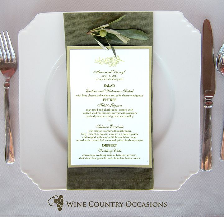 Place Setting with Olive Branch Menu Card in shades of green