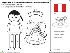 Hispanic Heritage Month First Grade Paper Dolls Community & Cultures Worksheets: Paper Dolls Around the World: Latin America II