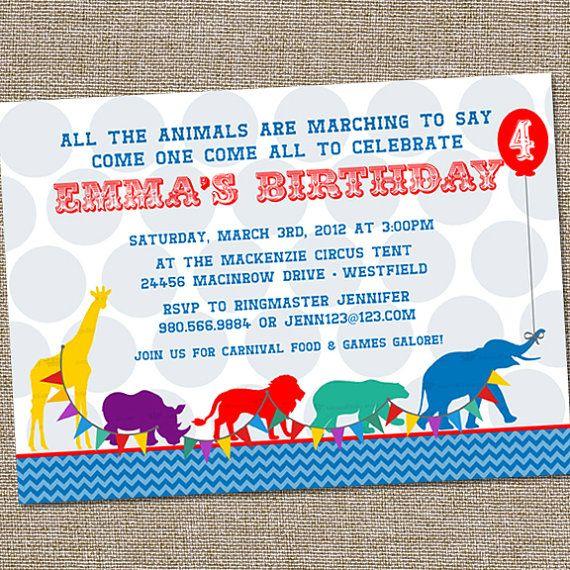 Animal Circus Parade Birthday Party Invitation by partymonkey, $15.00