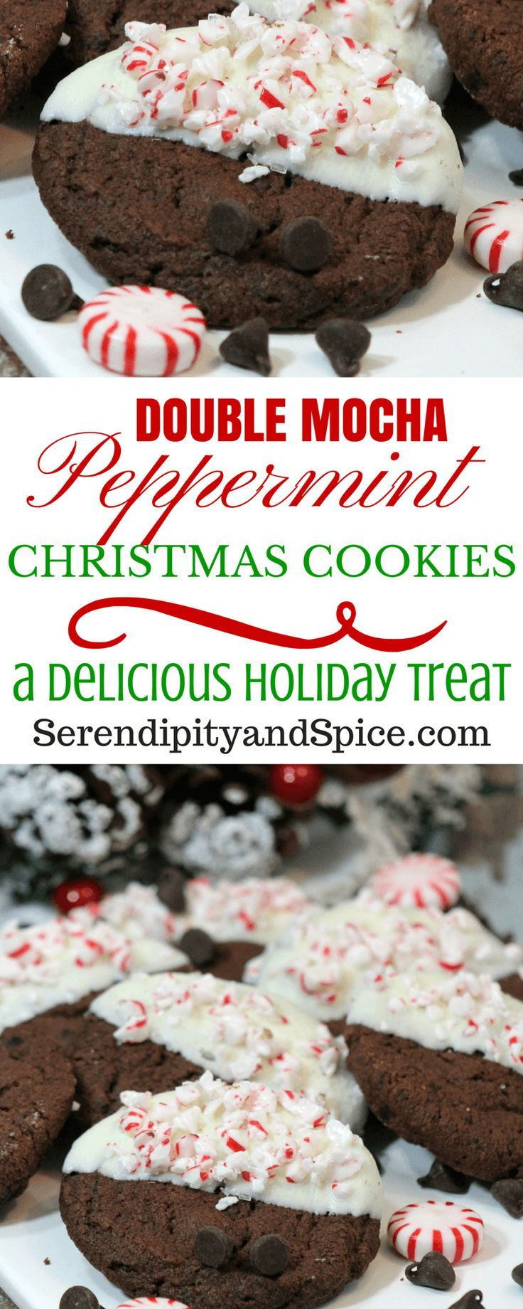Double Chocolate Mocha Peppermint Cookie Recipe...the perfect cookie for Santa! Christmas Cookie Recipe - Cookie Exchange - Gift Giving - Chocolate - Dessert - Easy Baking - Baking with Kids - Holiday Treat