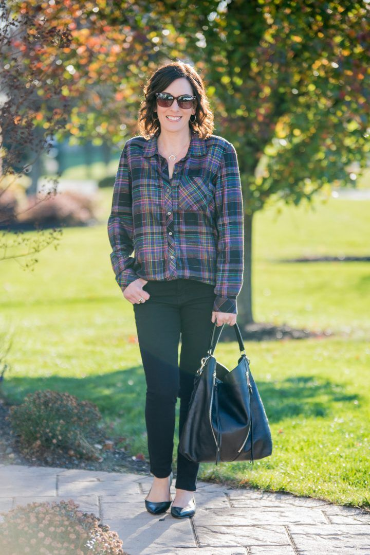 Winter Plaid Shirt Outfit featuring Gap Soft Metallic Plaid Shirt and Frame Le Color Skinny Jeans