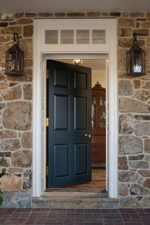 stonework and door with transom