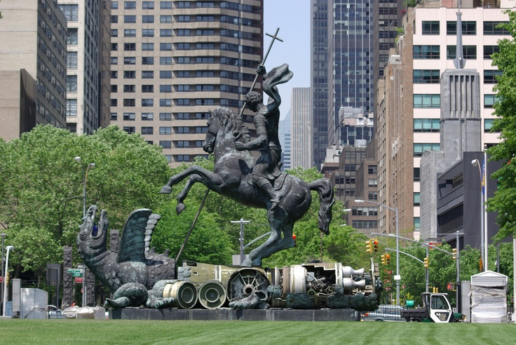 United Nations - sculpture - Good Defeats Evil - St. George and the Dragon
