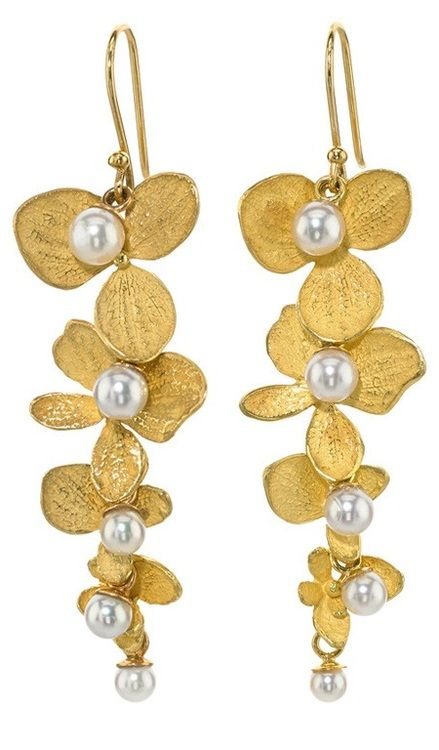 John Iversen Hydrangea Drop Earrings - 18K with White Pearls