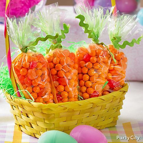 """Carrot"" Treats!  Fill with orange gumballs, jelly beans, etc."