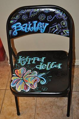 KD chapter chair. I wish we did this and everyone could decorate their own chair. So fun!