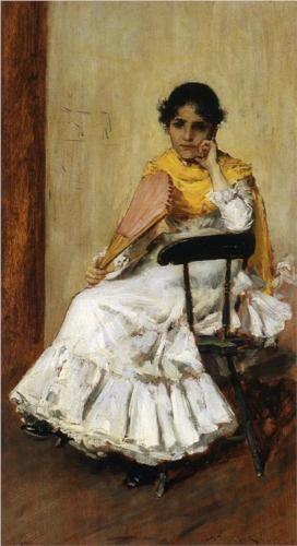 A Spanish Girl (aka Portrait of Mrs. Chase in Spanish Dress) - William Merritt Chase