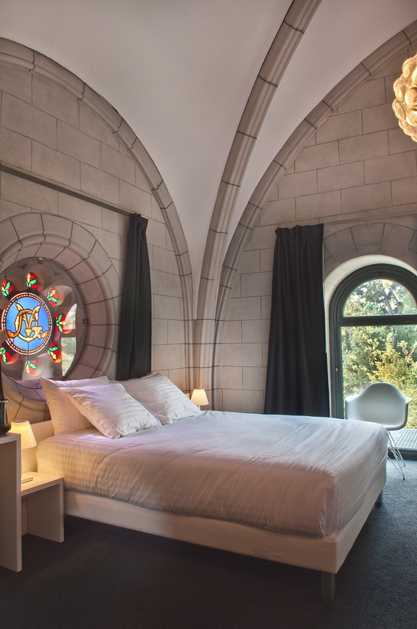 Hotel Sozo, Nantes, France Here, one sips an aperitif at the bar tucked inside the nave altar, and sleeps underneath soaring vaulted ceilings punctuated by swirls of vividly hued stained glass. From $169/night; sozohotel.fr