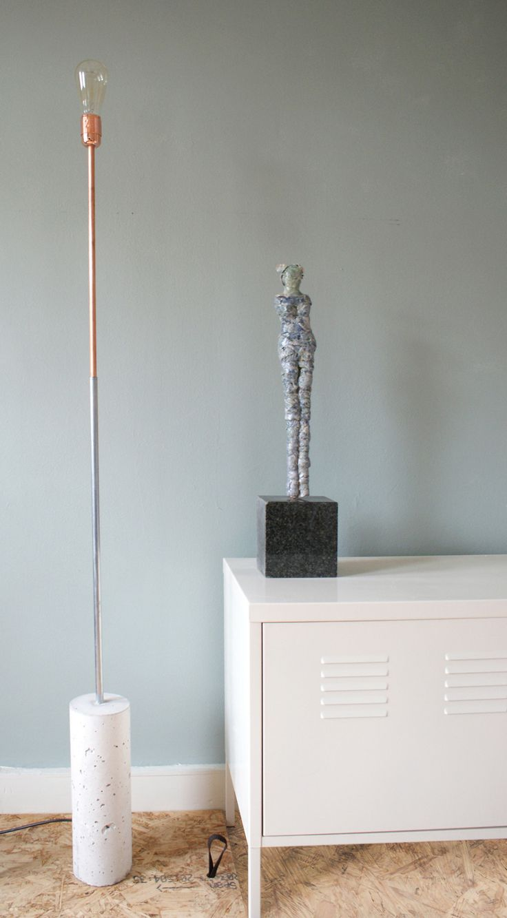 Copper concrete floor lamp by Studio Antal made in Netherlands on CROWDYHOUSE