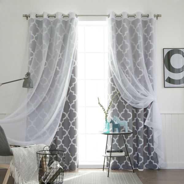 Aurora Home MIX MATCH CURTAINS Moroccan Room Darkening And Voile Sheer 84 Inch Grommet 4 Piece Curtain Panel Pair By