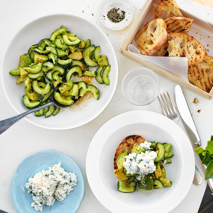 This cucumber, avocado and dill salad is a quick and easy side that only takes 15 minuets. Find the recipe here: http://www.waitrose.com/content/waitrose/en/home/recipes/recipe_directory/c/cucumber-avocadoanddillsalad.html