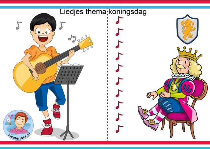 Liedjes voor kleuters bij het thema Koningdag.