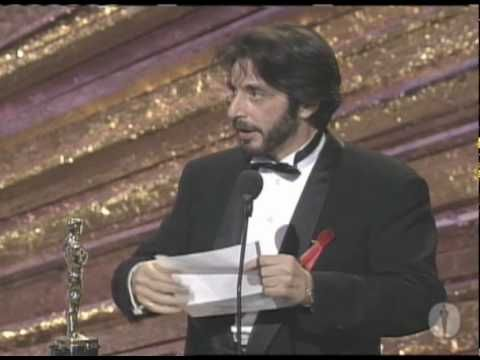 "Al Pacino winning Best Actor for ""Scent of a Woman"""