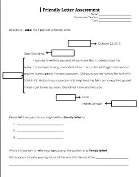 Friendly Letter Writing Worksheets For 2nd Grade