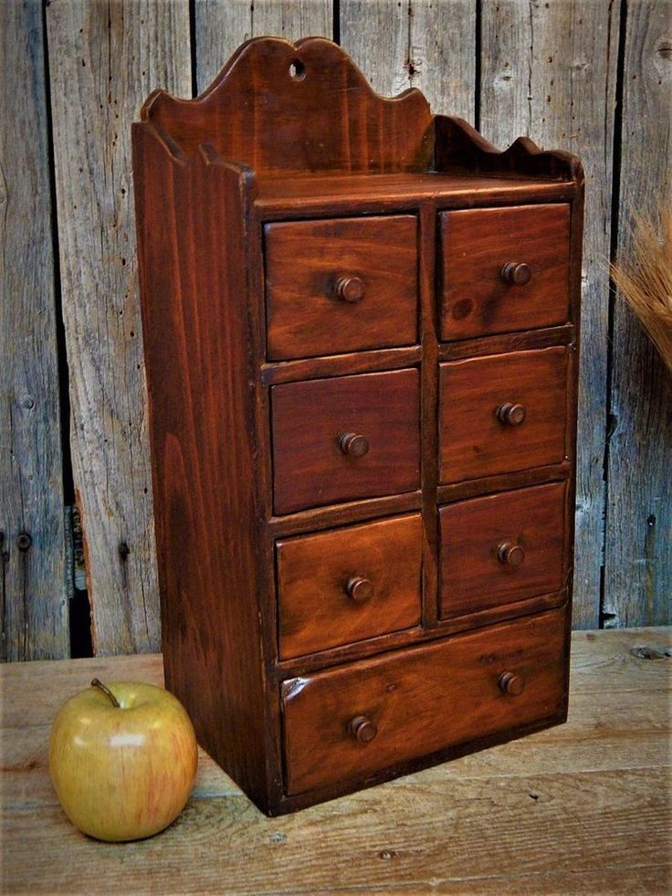 AAFA = Antique American Folk Art. This is a Fantastic Old Wooden Apothecary Spice Cabinet! Perfect addition to your Antique Primitive Farmhouse Kitchen! Front View - 6 small drawers & 1 Long drawer! | eBay!