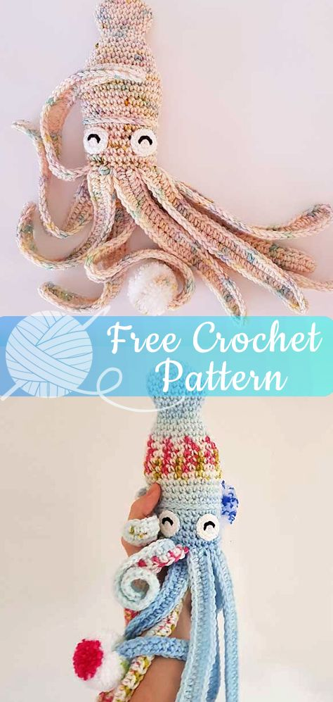 HUBBLE THE SQUID [CROCHET FREE PATTERNS] #octopus #amigurumi #crochet #freecroch...
