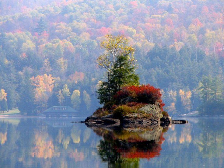 adirondack park, mountain, fall, greenery, small island