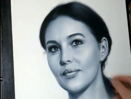 Speed Drawing Portrait of Monica Bellucci in dry brush art - Video Lessons of Drawing & Painting