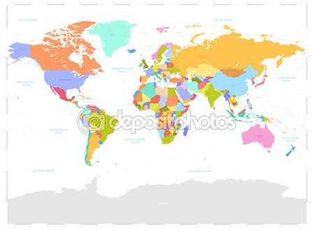 Hi Detail colored Vector Political World Map illustration — Stock Illustration #60145865