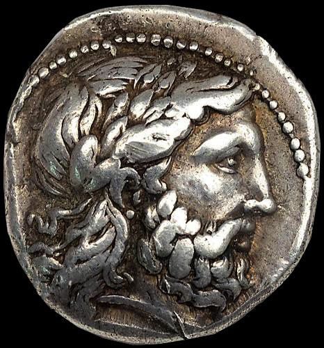 Silver Tetradrachm Coin Phillip II Macedon, Father of Alexander the Great Portrait of Zeus. Struck 341-328 B.C.