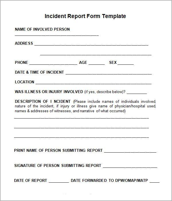 Generic Incident Report Template Template Pinterest Template