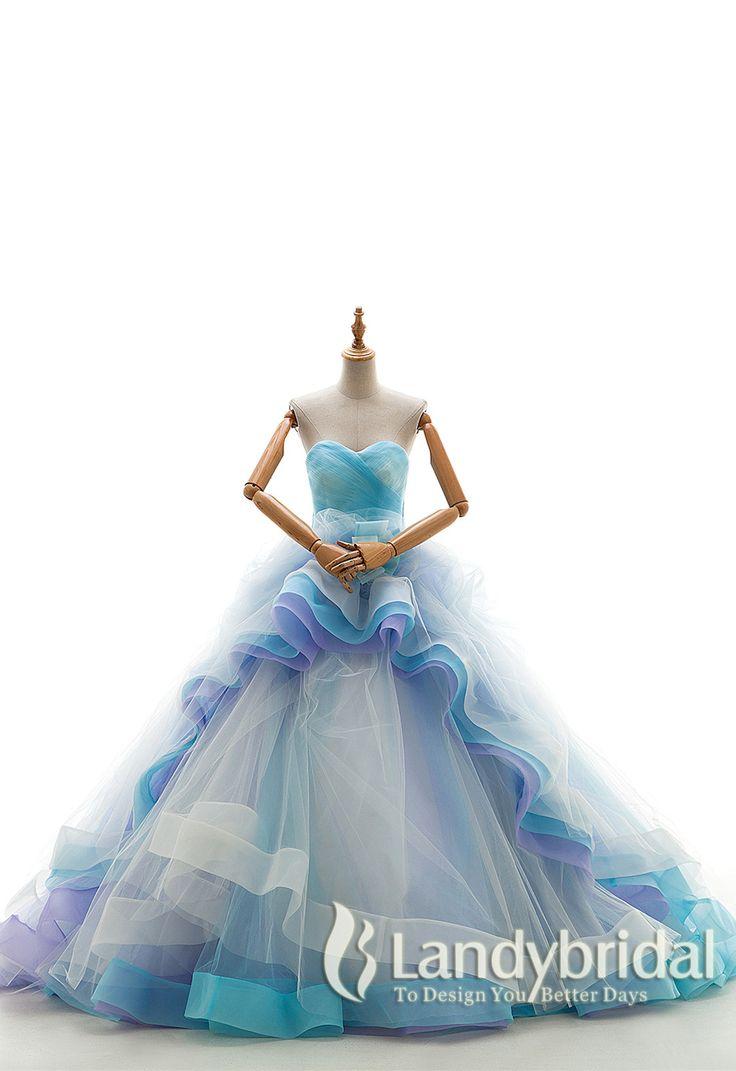 カラードレス プリンセスライン ブルーのグラデーション 波のようなフリル チュール オーガンジ LD3929 ¥58,500
