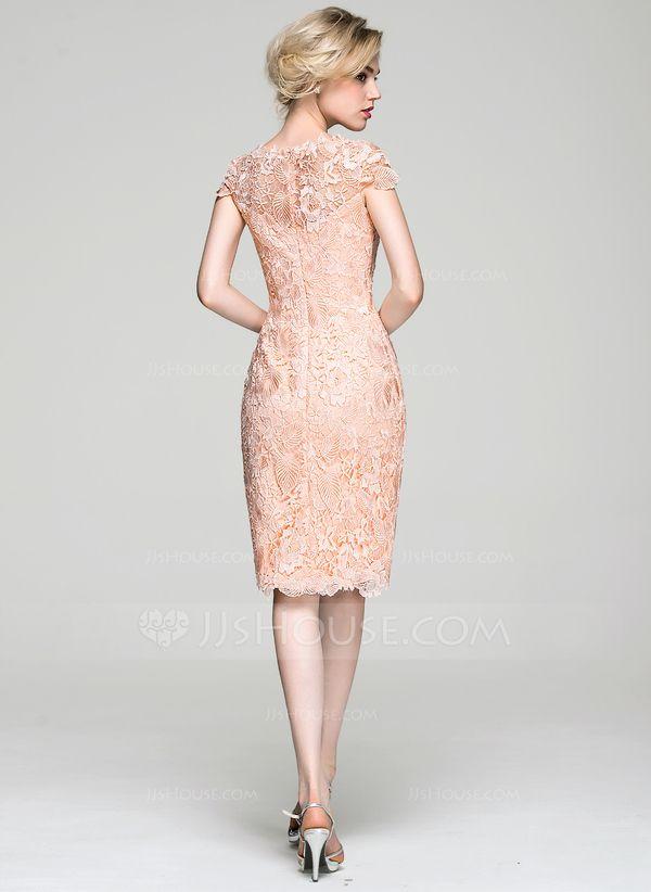 1096696f 2019的Sheath/Column Scoop Neck Knee-Length Lace Cocktail Dress ...