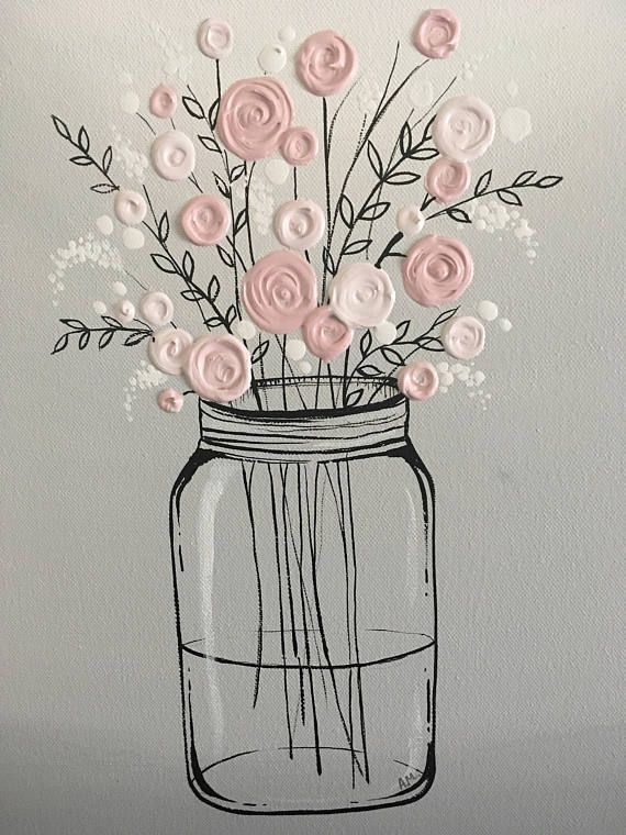Mason Jar Flower Art, Unique gift for her, Pink and Gray Textured Acrylic Original Painting on Canvas, Ready to ship