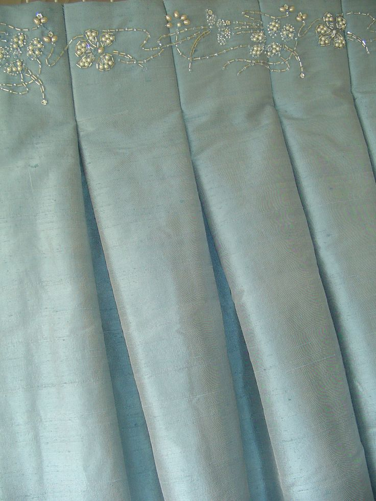 Oh the details!  Bridal couture meets custom window treatments.  These would be elegant in a master bedroom with lots of shades of cream.- Love it!~Marie-Window Designs Etc. WORKROOM INTELLIGENCE - Love the beaded overlay   # Pin++ for Pinterest #