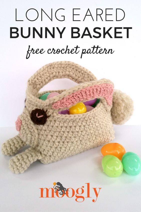 Long Eared Bunny Basket - free crochet pattern on Mooglyblog.com!  *** #spring #easter #crochet pattern #holiday #patterns #crafts #diy #gifts #life #basket #bags