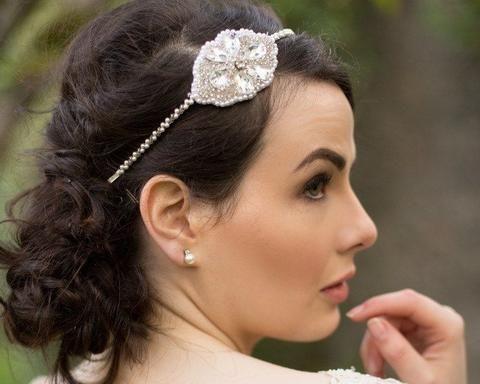 Vintage Side Headpieces - Delicate Pearl Appliquè Headband, Audrey