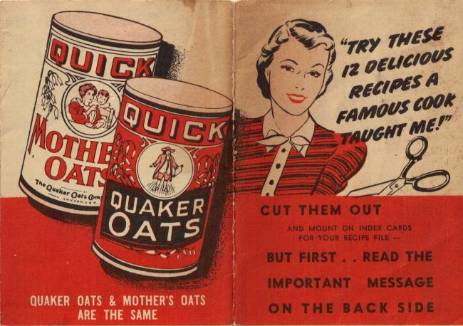 Vintage Quaker Oats Recipe Folder