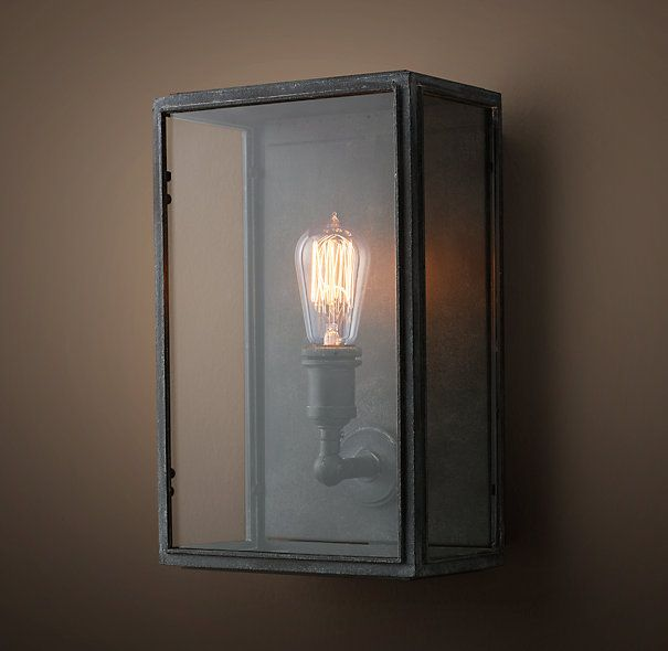 Outdoor Entry Sconces 4 Union Filament Clear Glass Wide Sconce Weathered Zinc Lighting
