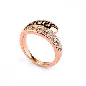 Itāļu modes gredzens ar austrijas kristāliem 18k (apzeltīts)