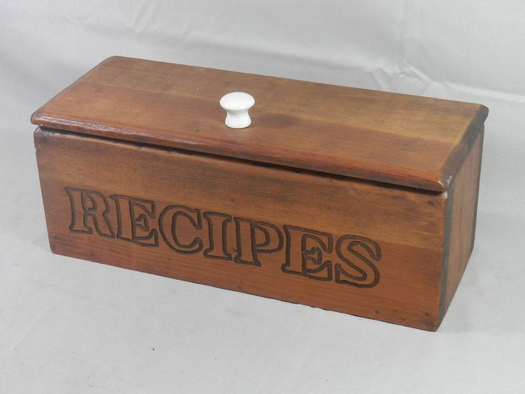 vintage wood recipe box primitive handmade wooden 3x5 index card lidded organizer double sided