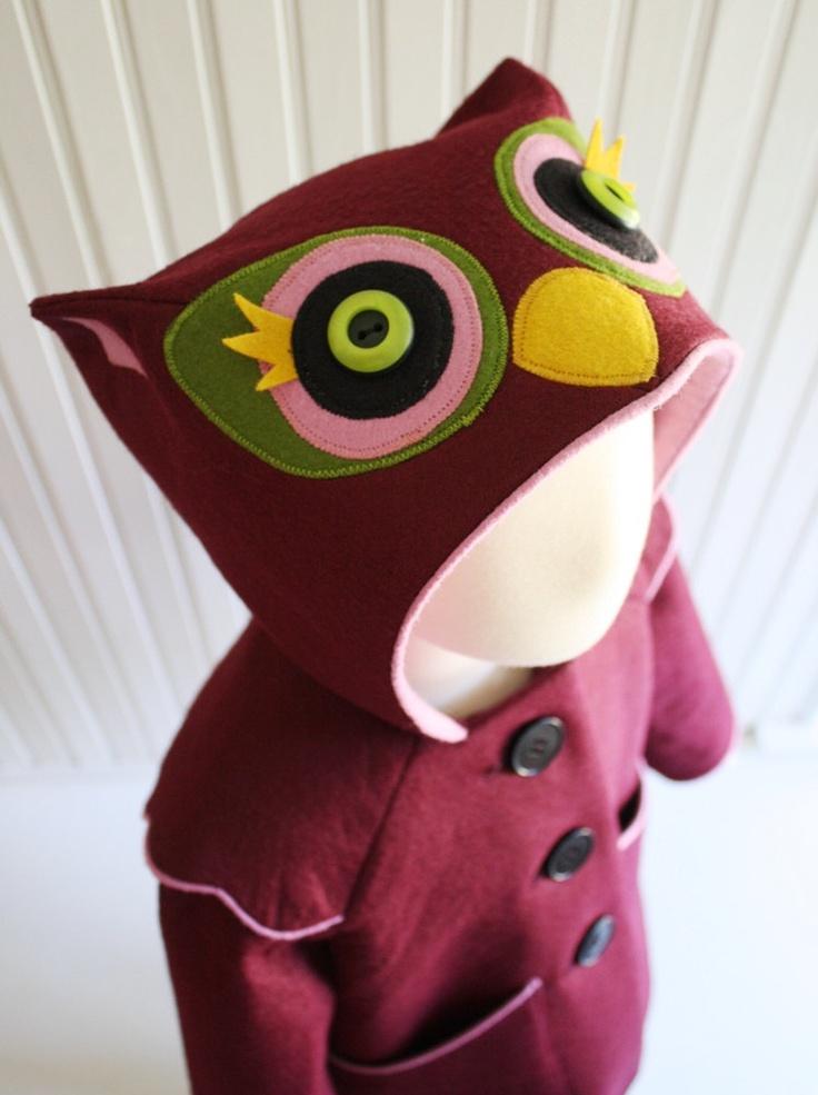 Sweetheart Owl Girls Coat. $155,00, via Etsy, I feel like I could make this... If I could sew...