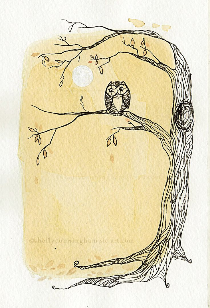 Tea+for+the+Owl+in+the+moonlight++5x7+tea+&+ink+by+IrishShells,+$17.00...RIP Great Auntie Margaret!