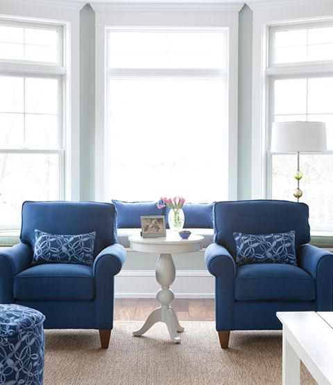 Blue chairs are the same color as my sofa in FL. Ocean Blue Living Room |  Maine Cottage #mainecottage | Pinterest | Navy furniture, Furnit… - Wall Color Is . . . Blue Chairs Are The Same Color As My Sofa In