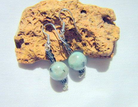 Tree Agate Earrings Green Earrings  ID 317