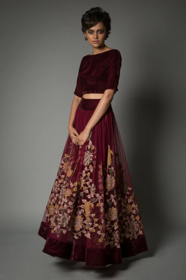 Red floral lengha by Neeta Lulla