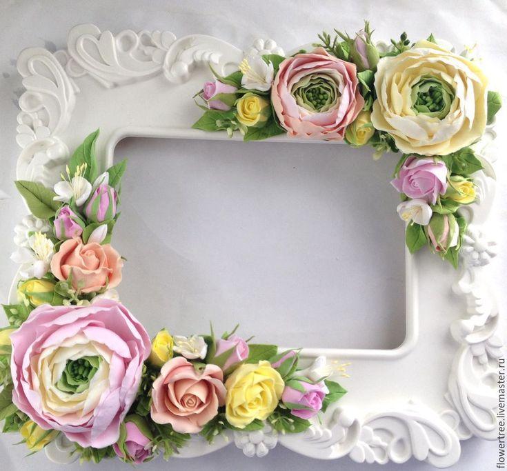 Купить Фоторамка с ранункулюсами из полимерной глины - цветы ручной работы, подарок на день рождения